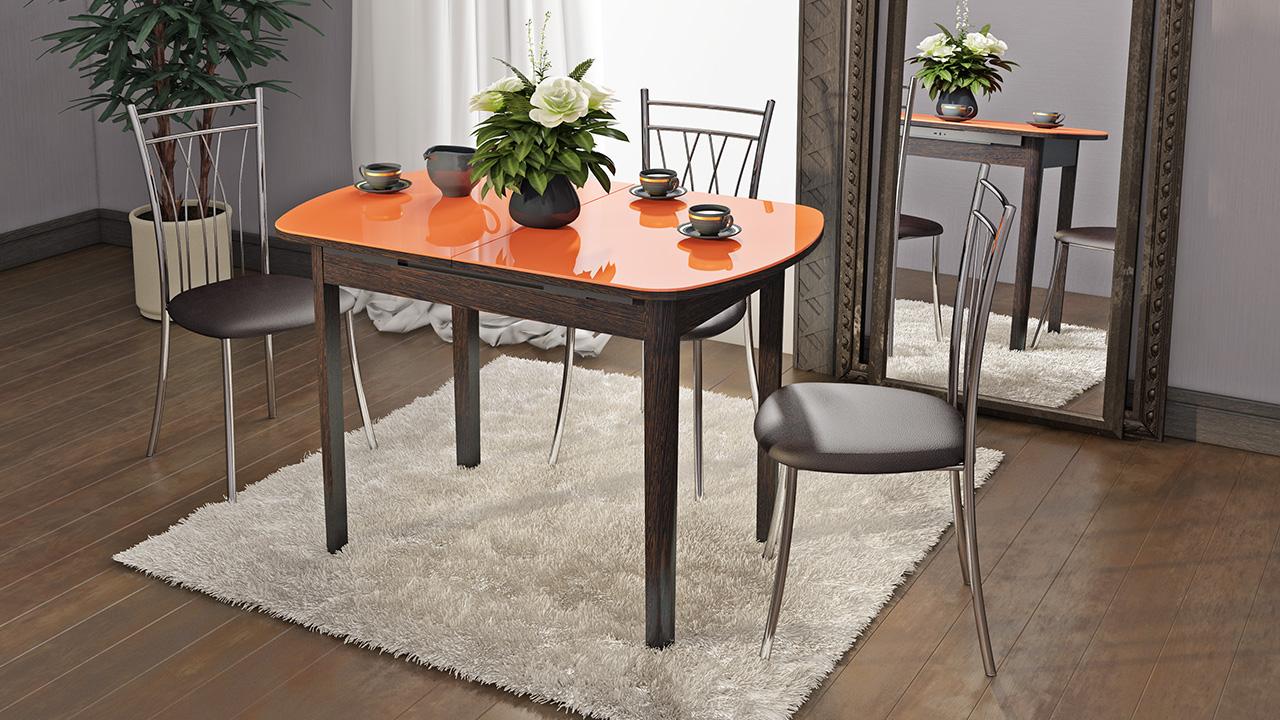 Оранжевый глянцевый стол