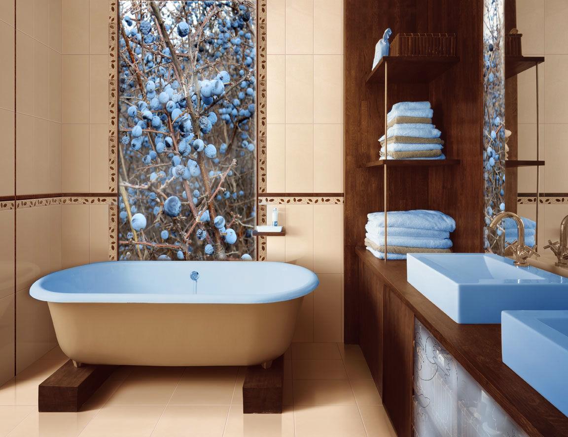 Панель из фотоплитки в ванной комнате