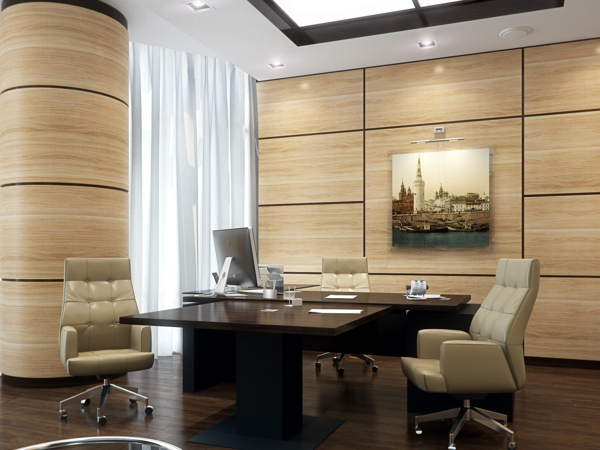 Светлые панели на стене в кабинете