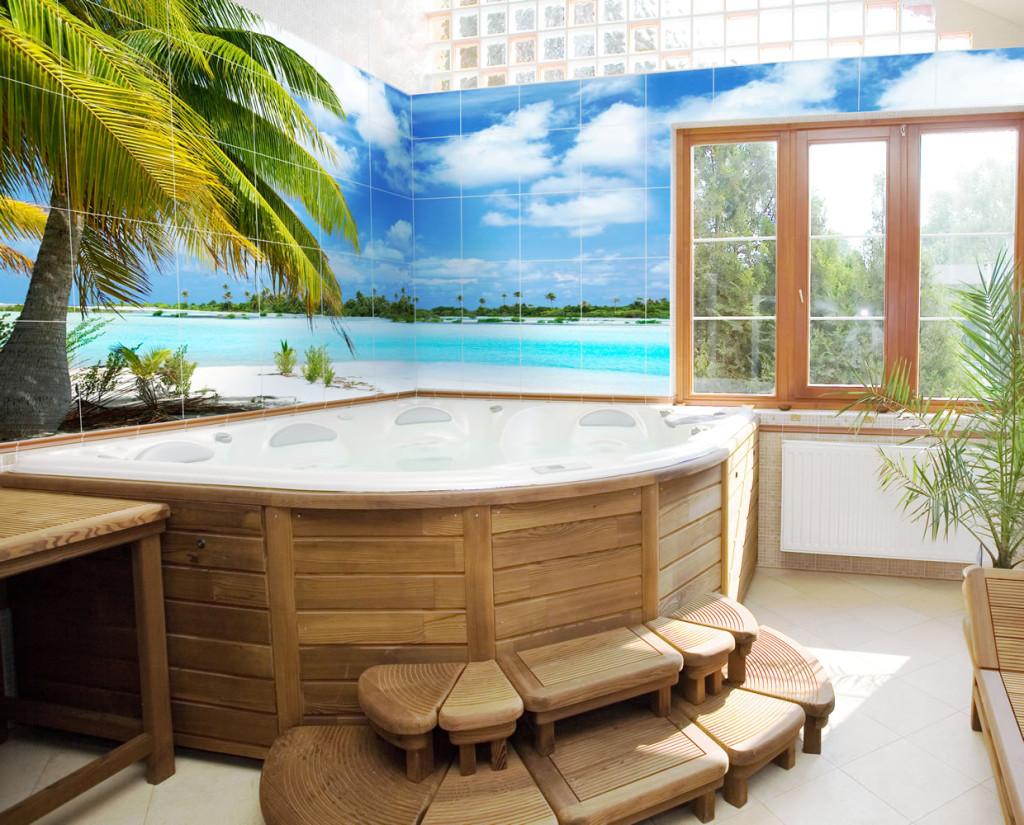 Пейзаж на плитке в ванной комнате