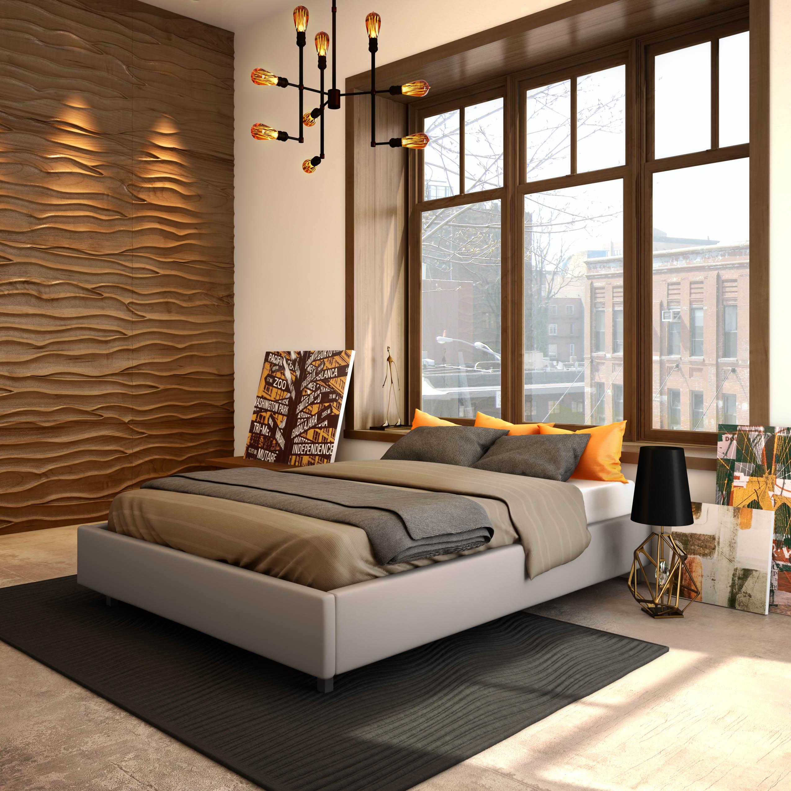 Кровать под окном в спальне
