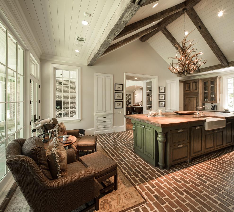 Кирпич на полу на кухне