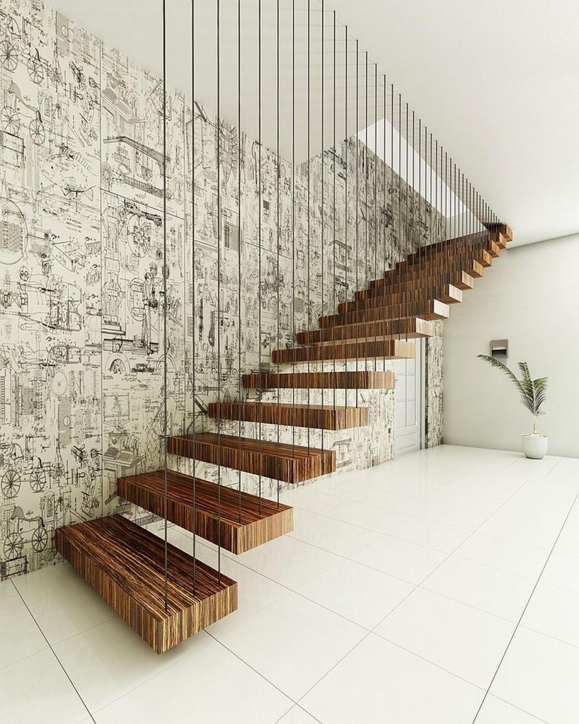 Лестница из полосатого дерева на больцах