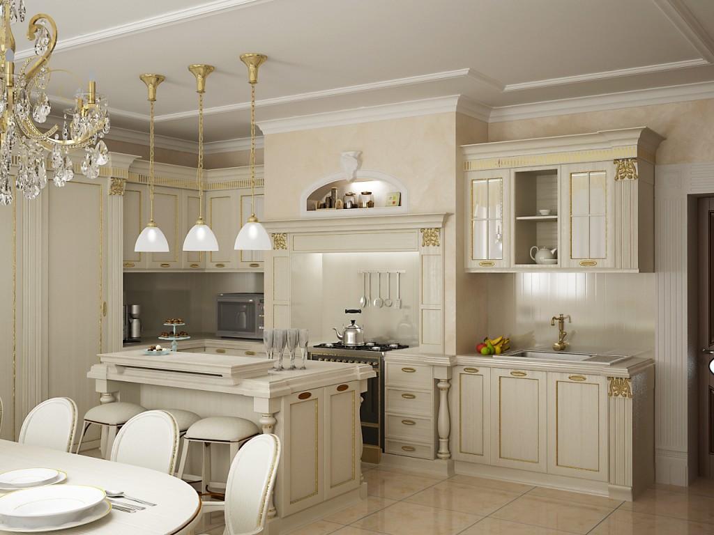 Классический кухонный гарнитур с позолотой