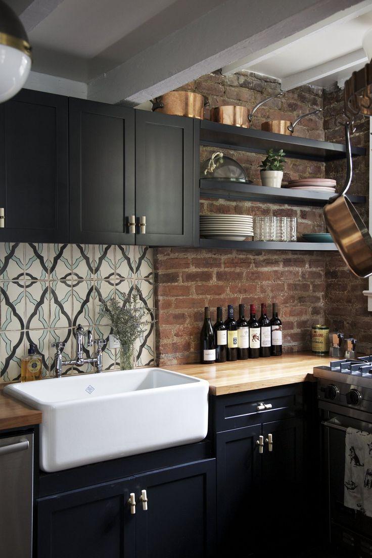 Кухня под кирпич в стиле ретро