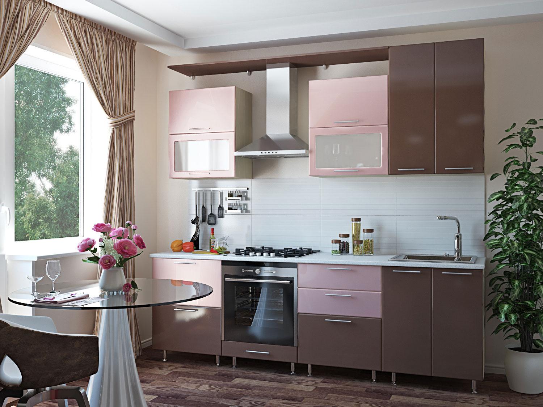 Прямой кухонный гарнитур розового цвета