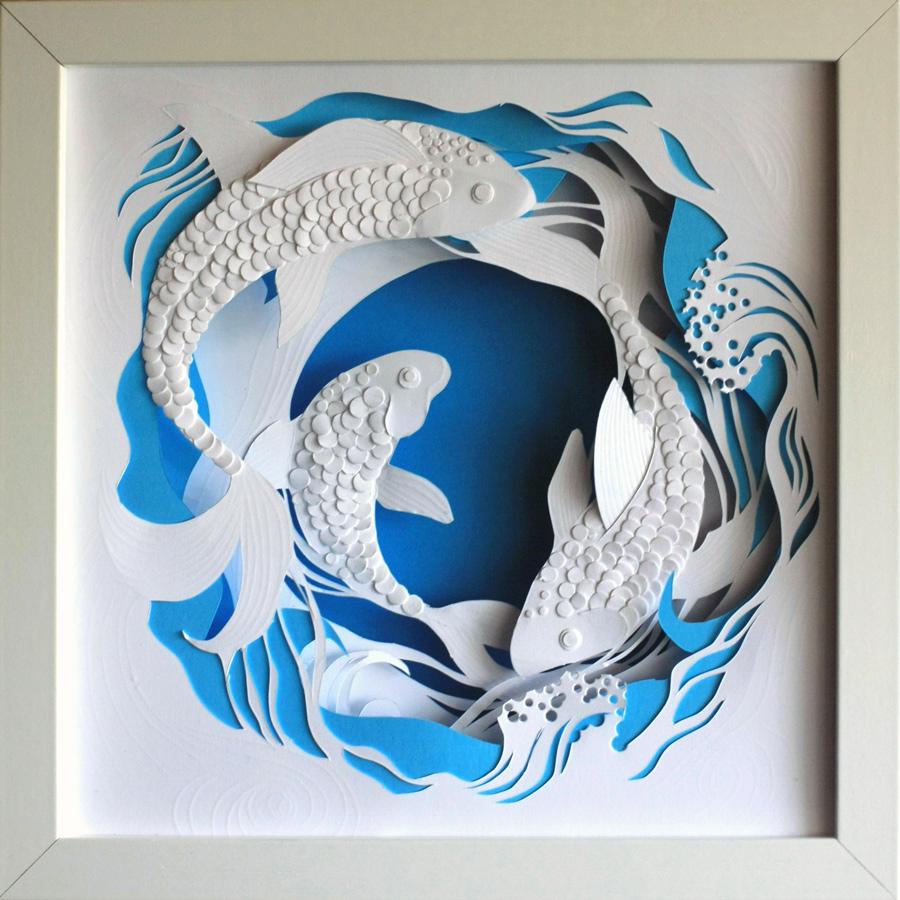Панно декоративное из бумаги с рыбами