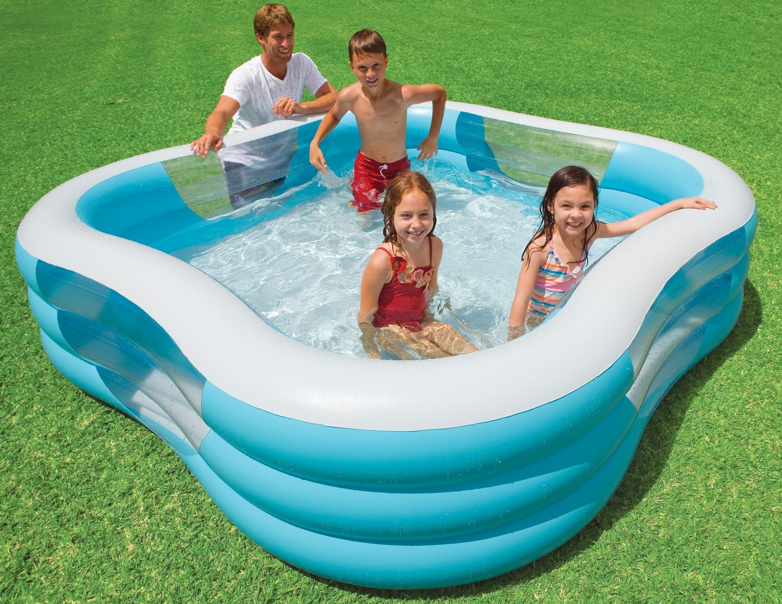 Надувной бассейн с прозрачными бортиками