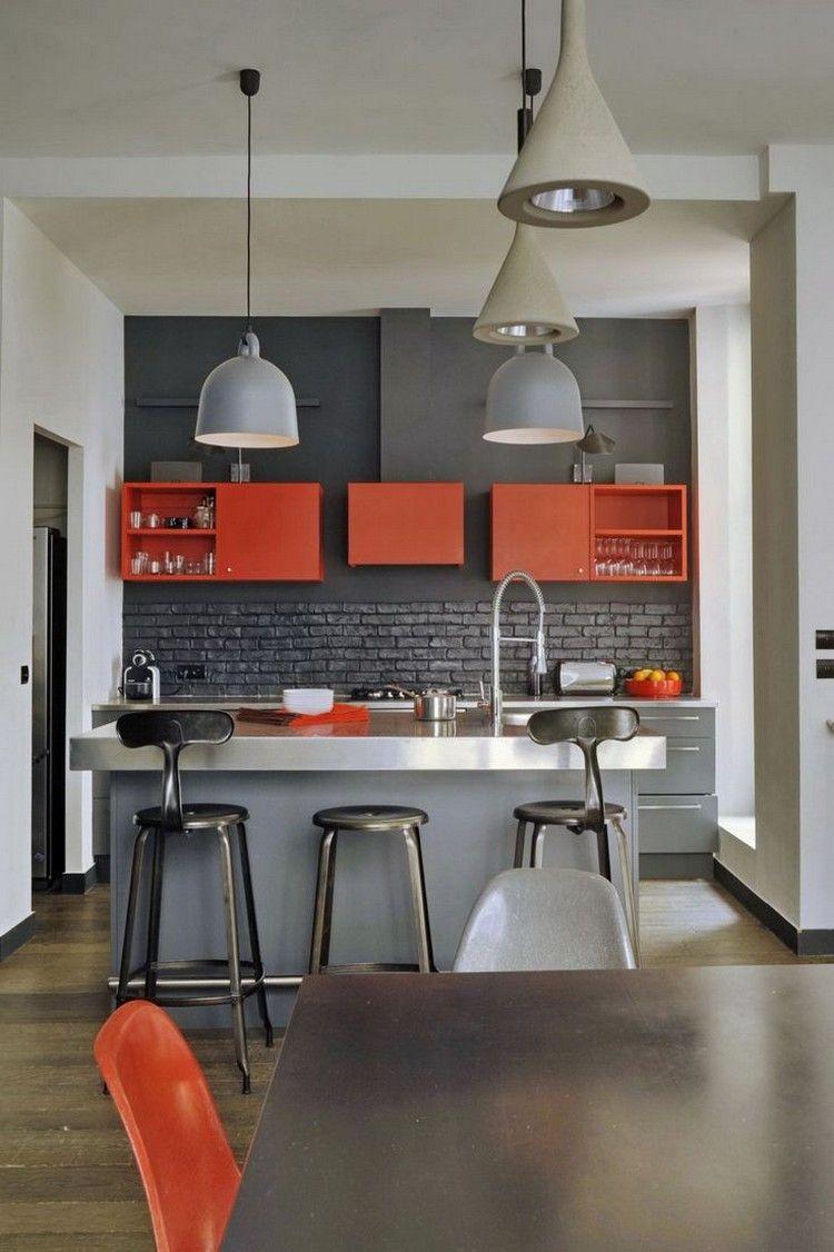 Кухня под кирпич серый