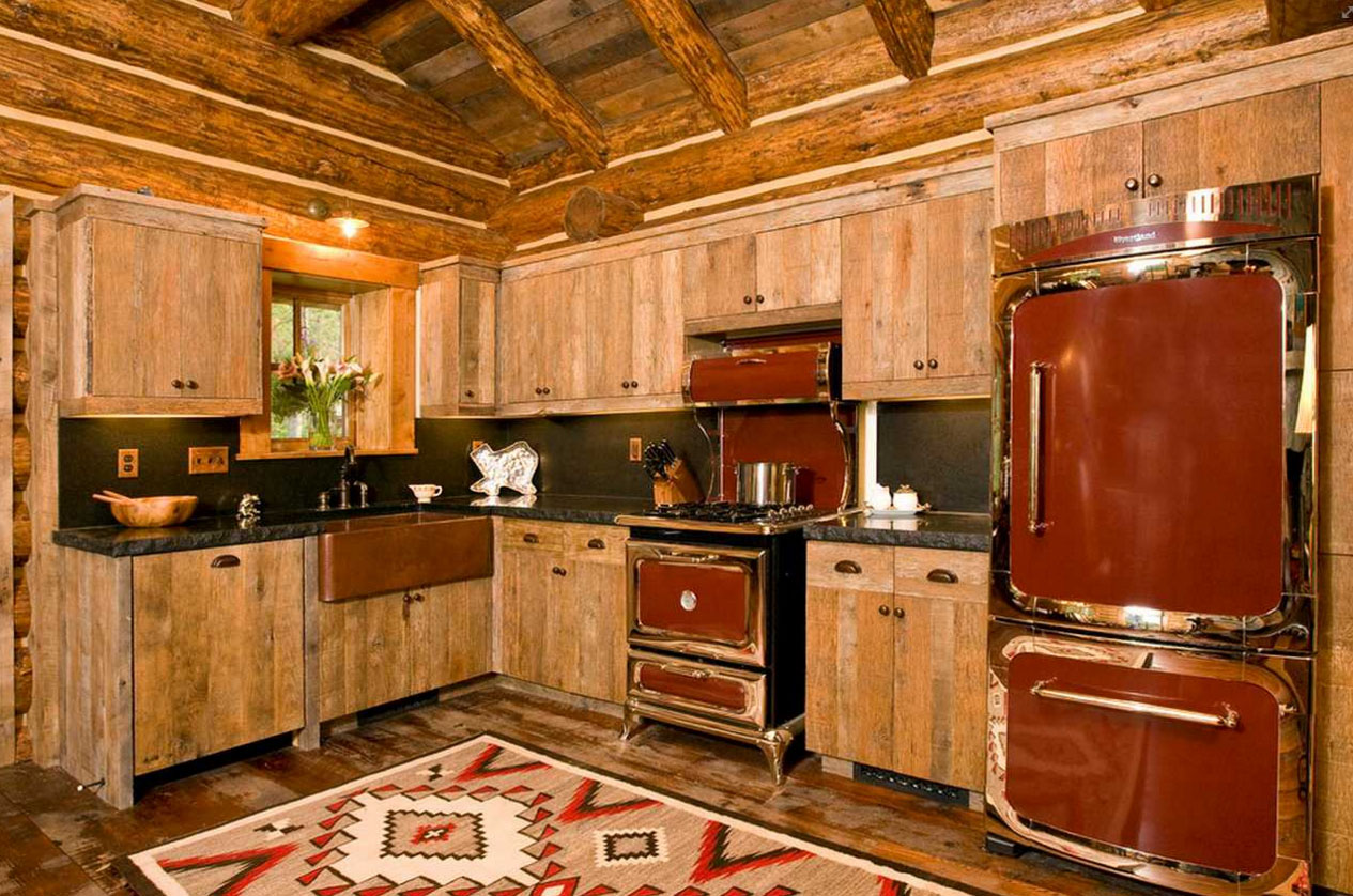 Кухня-шале из дерева