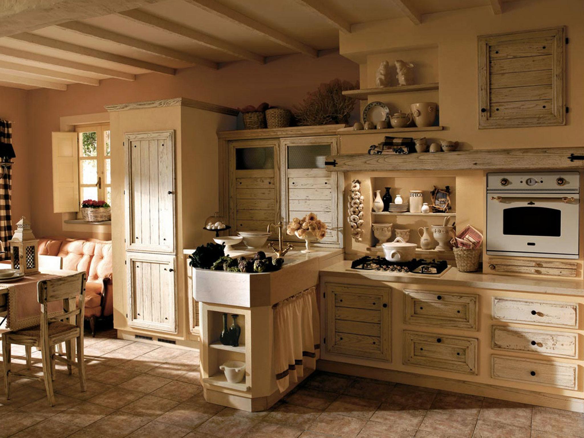 Кухня из массива в стиле шебби шик