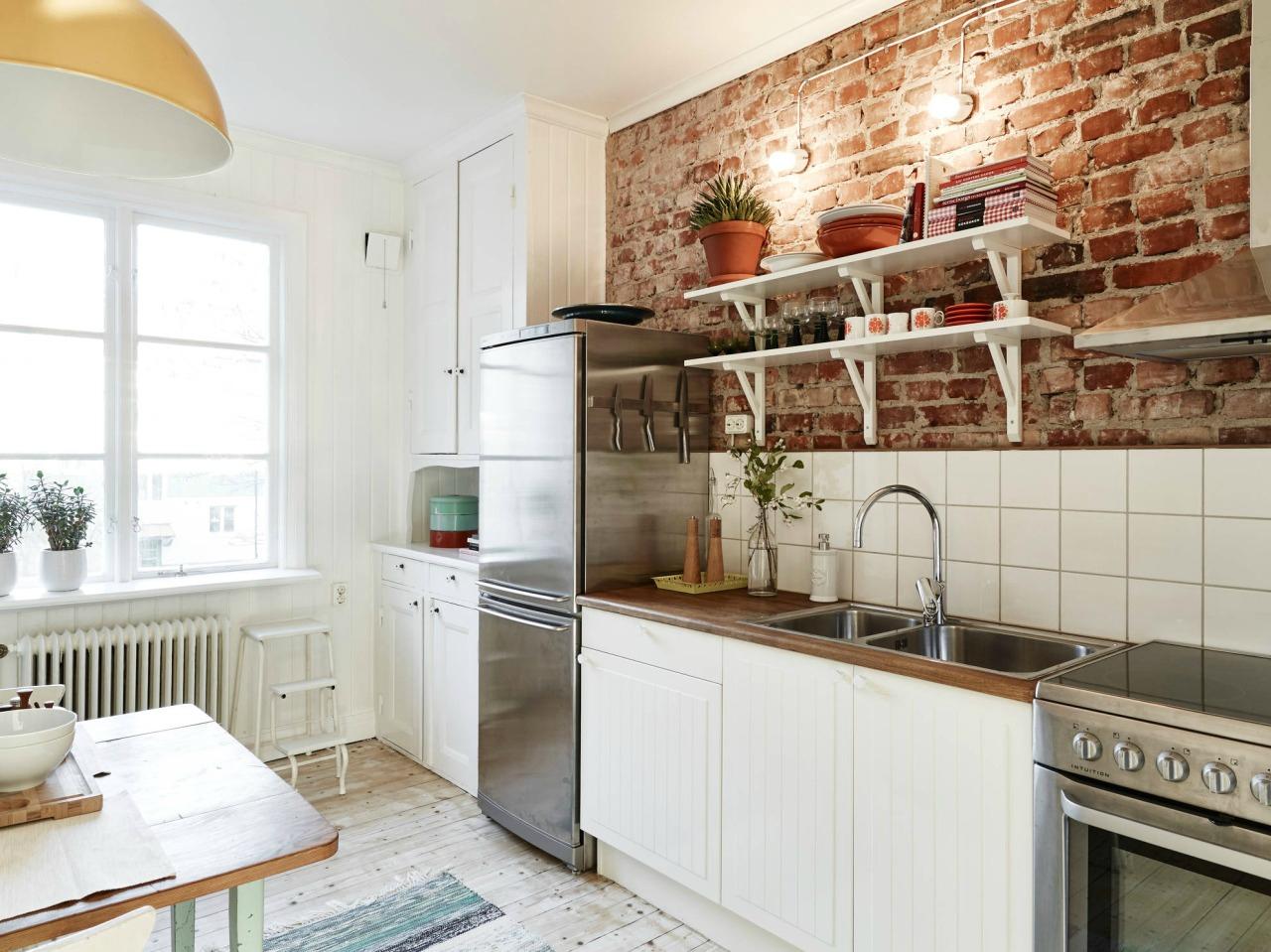 Кухня под кирпич в скандинавском стиле
