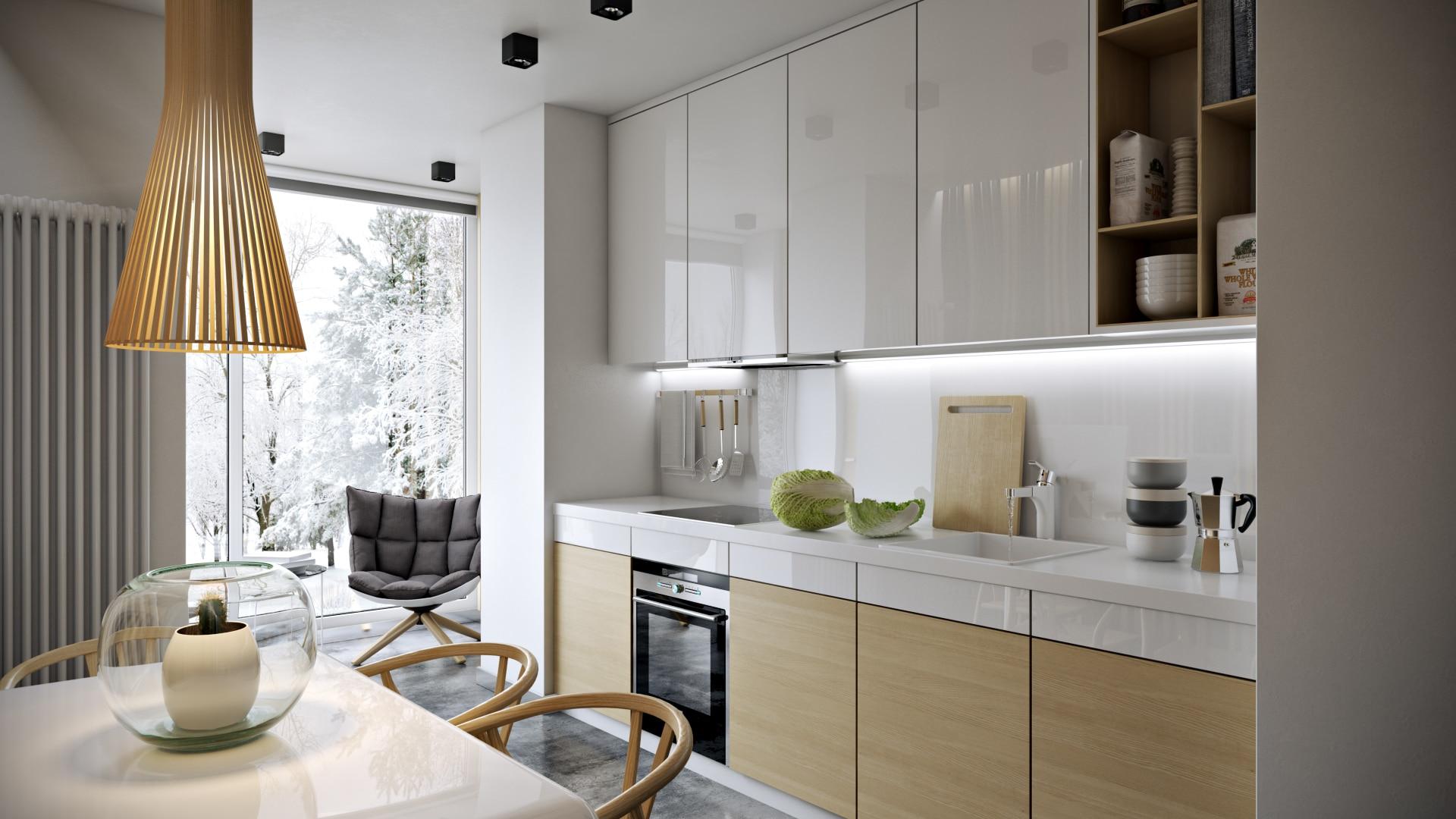 Прямой кухонный гарнитур в современном дизайне