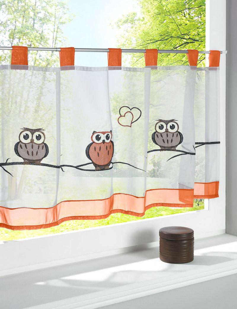 Шторы в стиле кафе с совами для детской