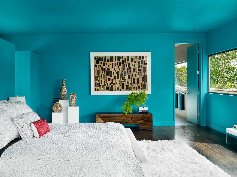 Обои цвета бирюзы в спальне