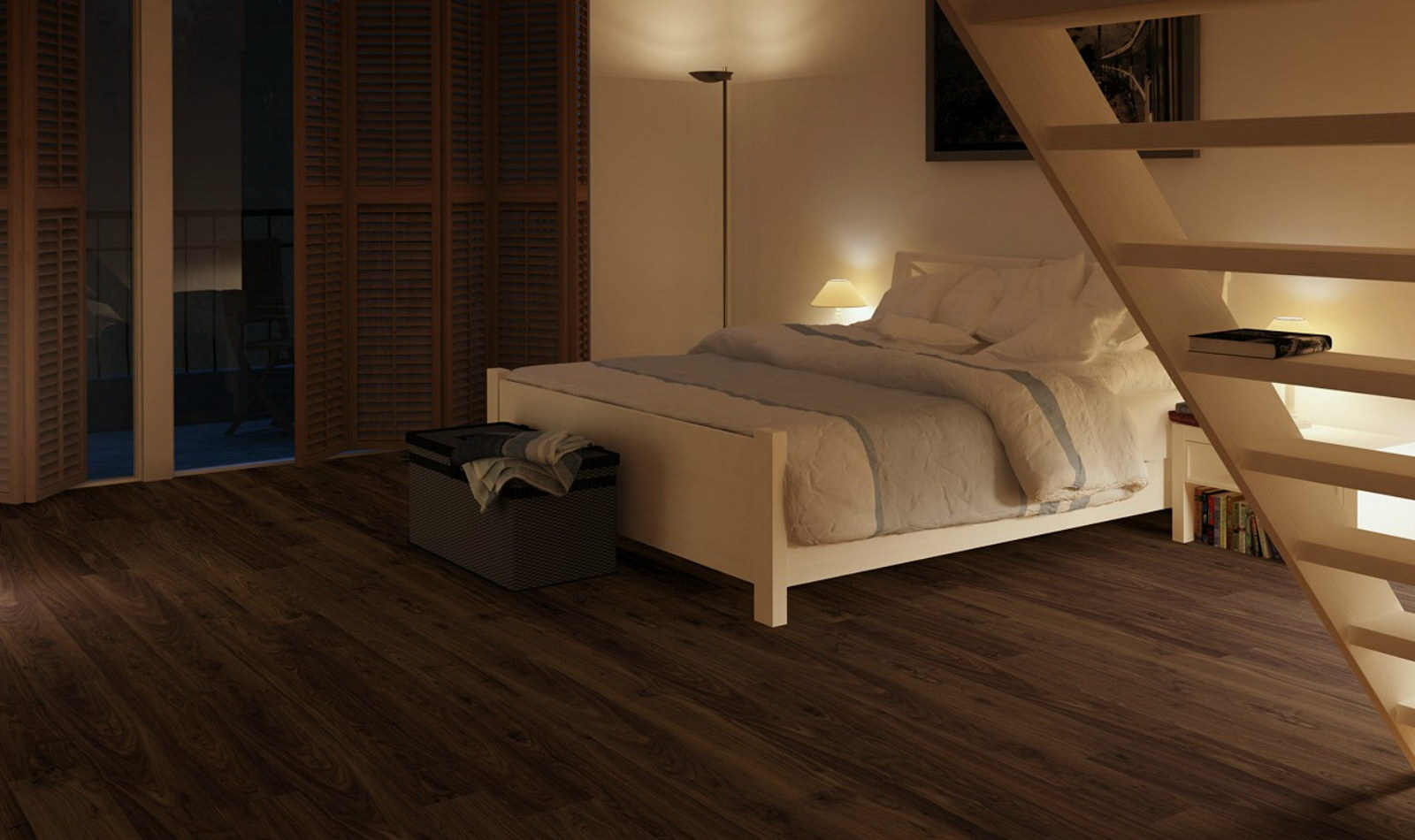 Ламинат под орех в интерьере спальни загородного дома