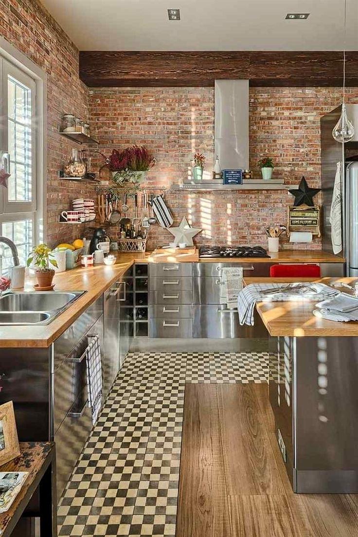 Кухня стальная под кирпич