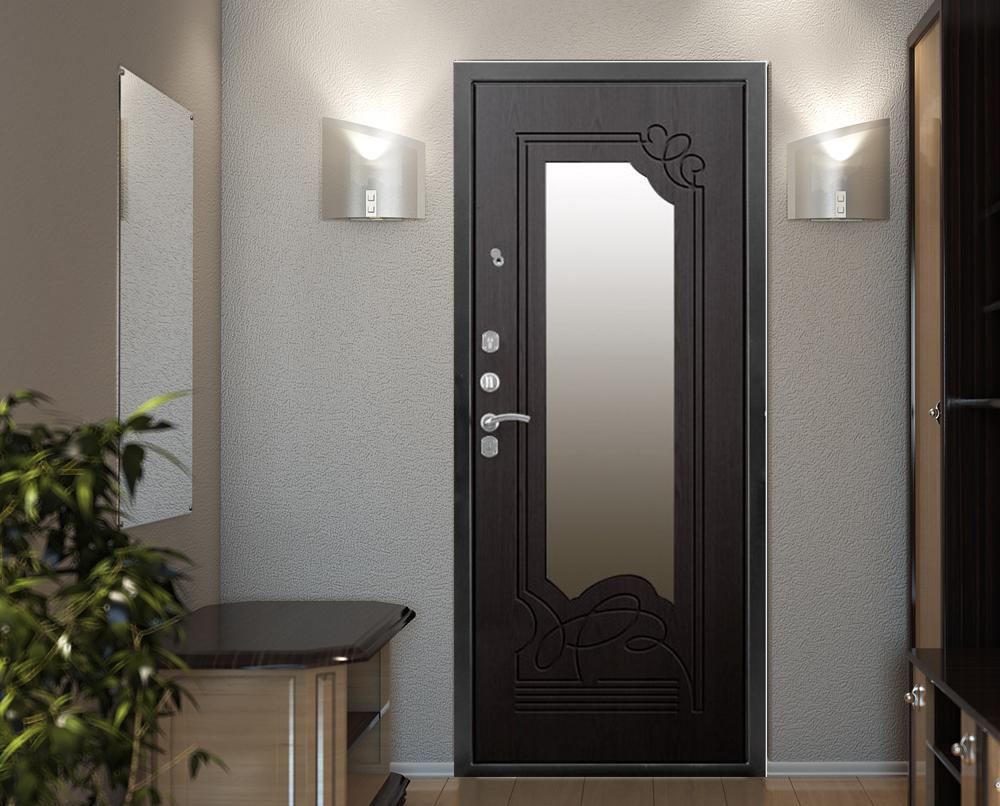 Зеркальная входная дверь из стали