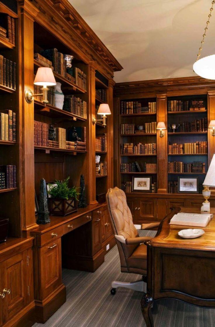 Дизайн интерьера кабинета руководителя со стеллажами