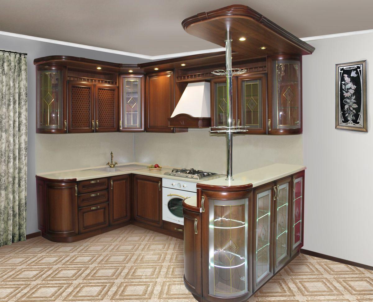 Классический кухонный гарнитур с барной стойкой