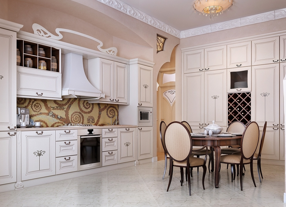 Гарнитур в классическом стиле на кухне