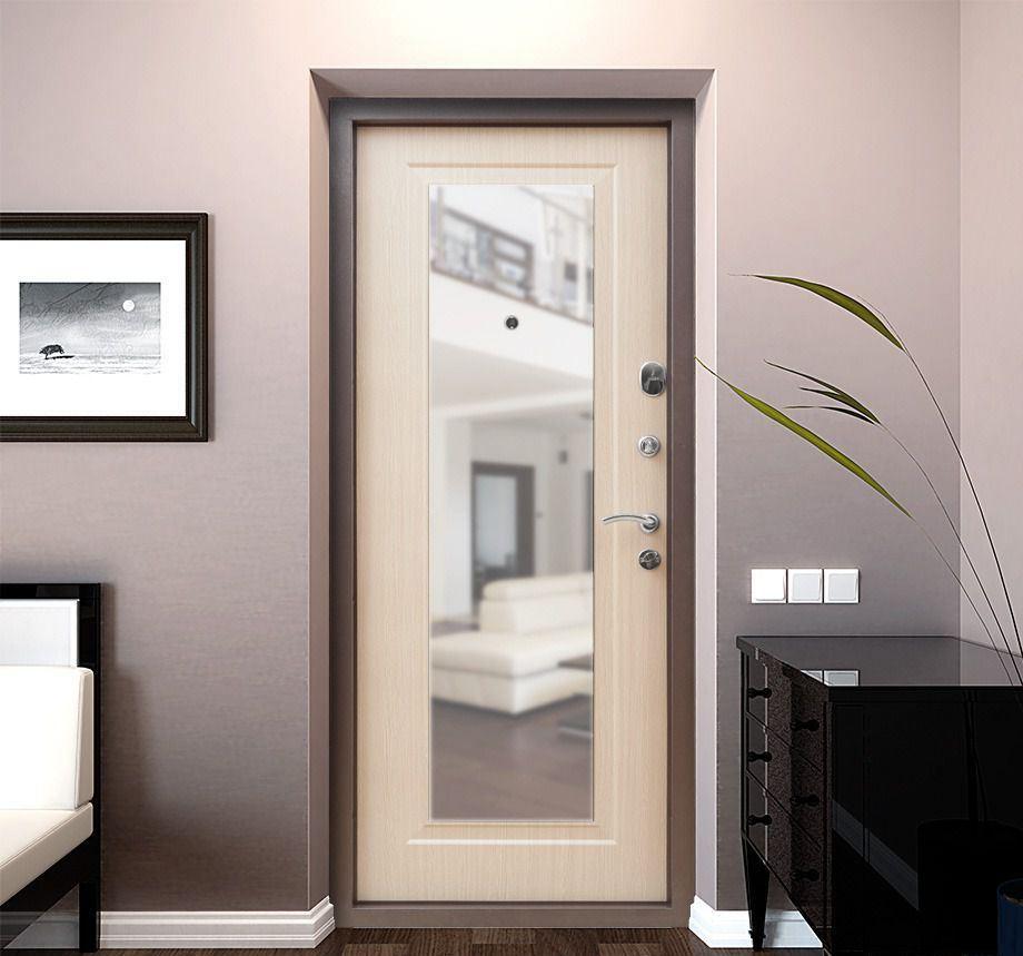 Входная дверь белая с зеркалом