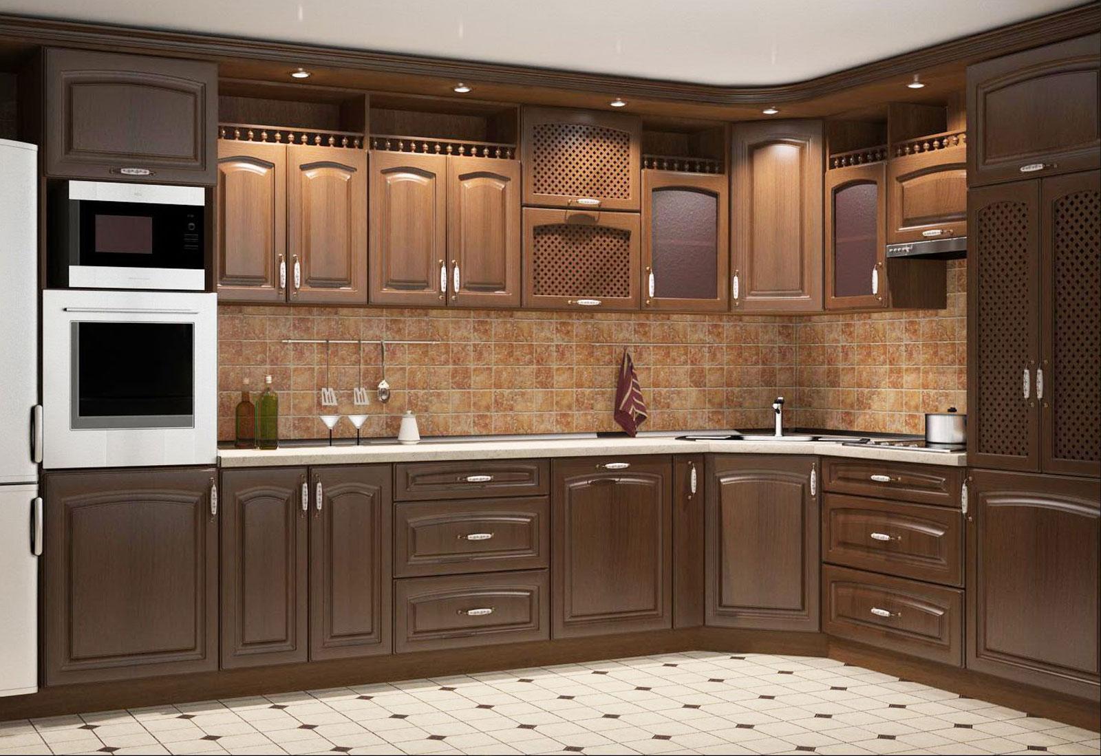Угловой классический гарнитур на кухне