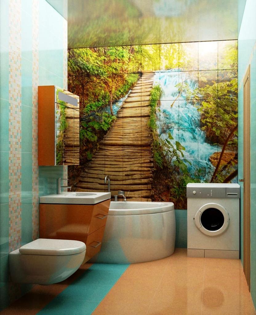 Фотоплитка в интерьере ванной