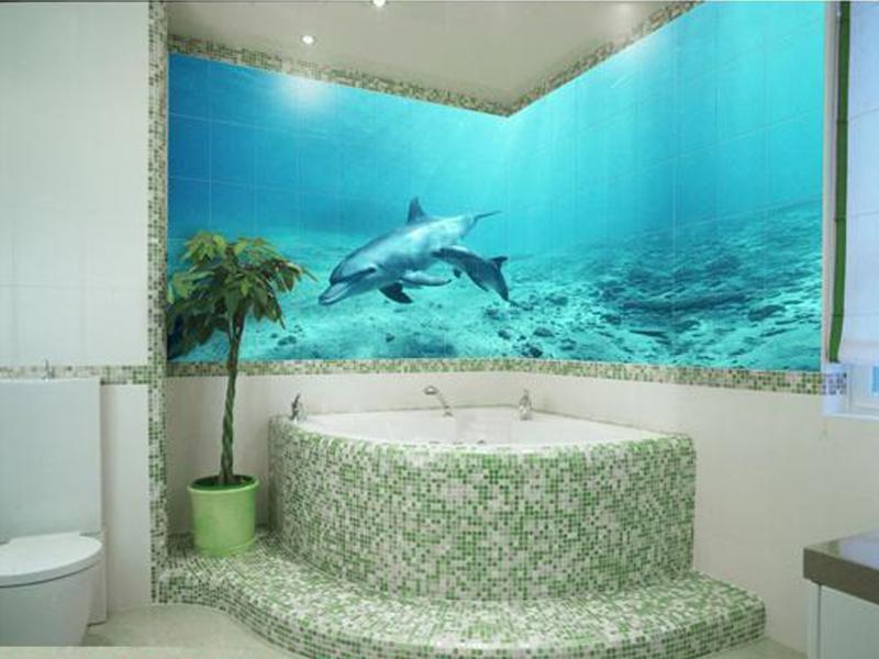 Фотоплитка с дельфинами в ванной