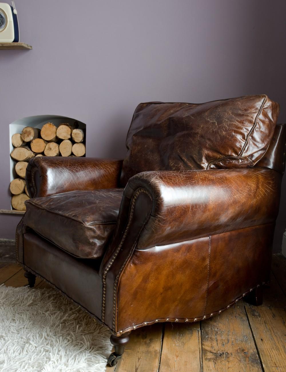 Винтажное кожаное кресло