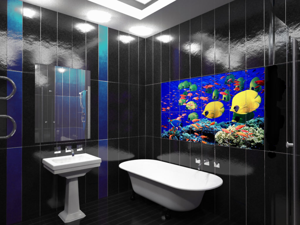 Декоративная вставка из фотоплитки в ванной
