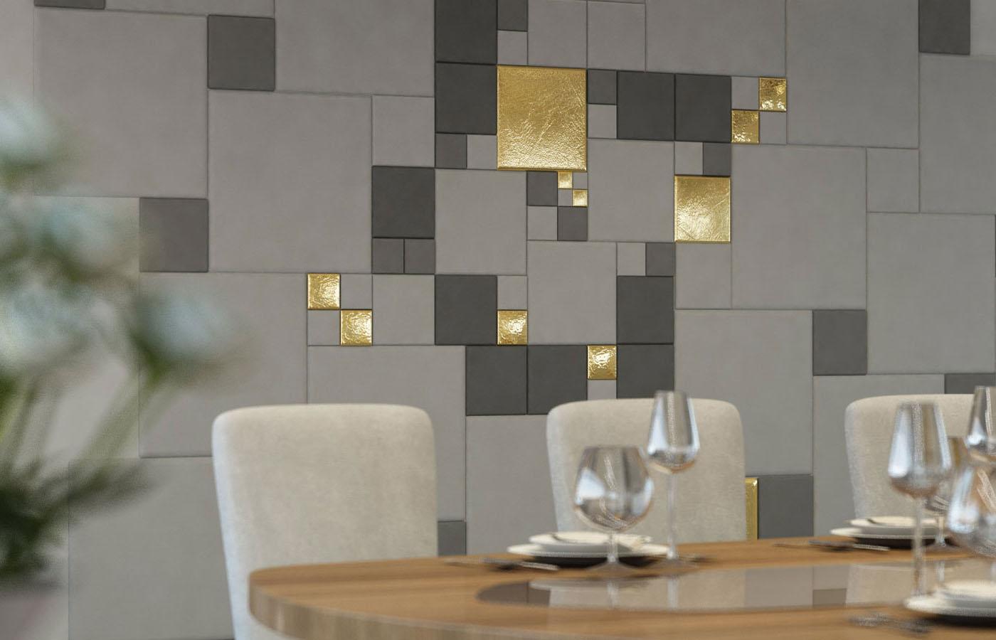 Мягкие стеновые панели с золотыми вставками