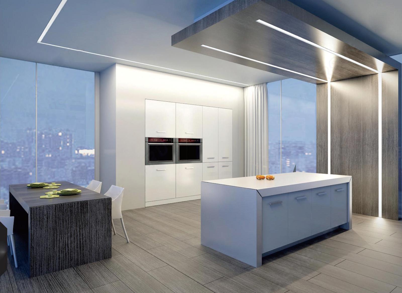 Встроенные светодиодные светильники на кухне в стиле хай-тек