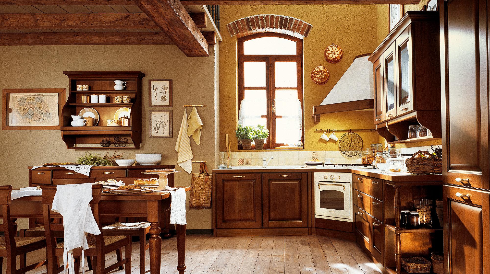 Угловая вытяжка на кухне загородного дома
