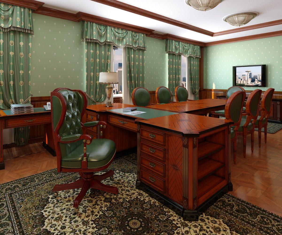 Зеленый дизайн кабинета директора