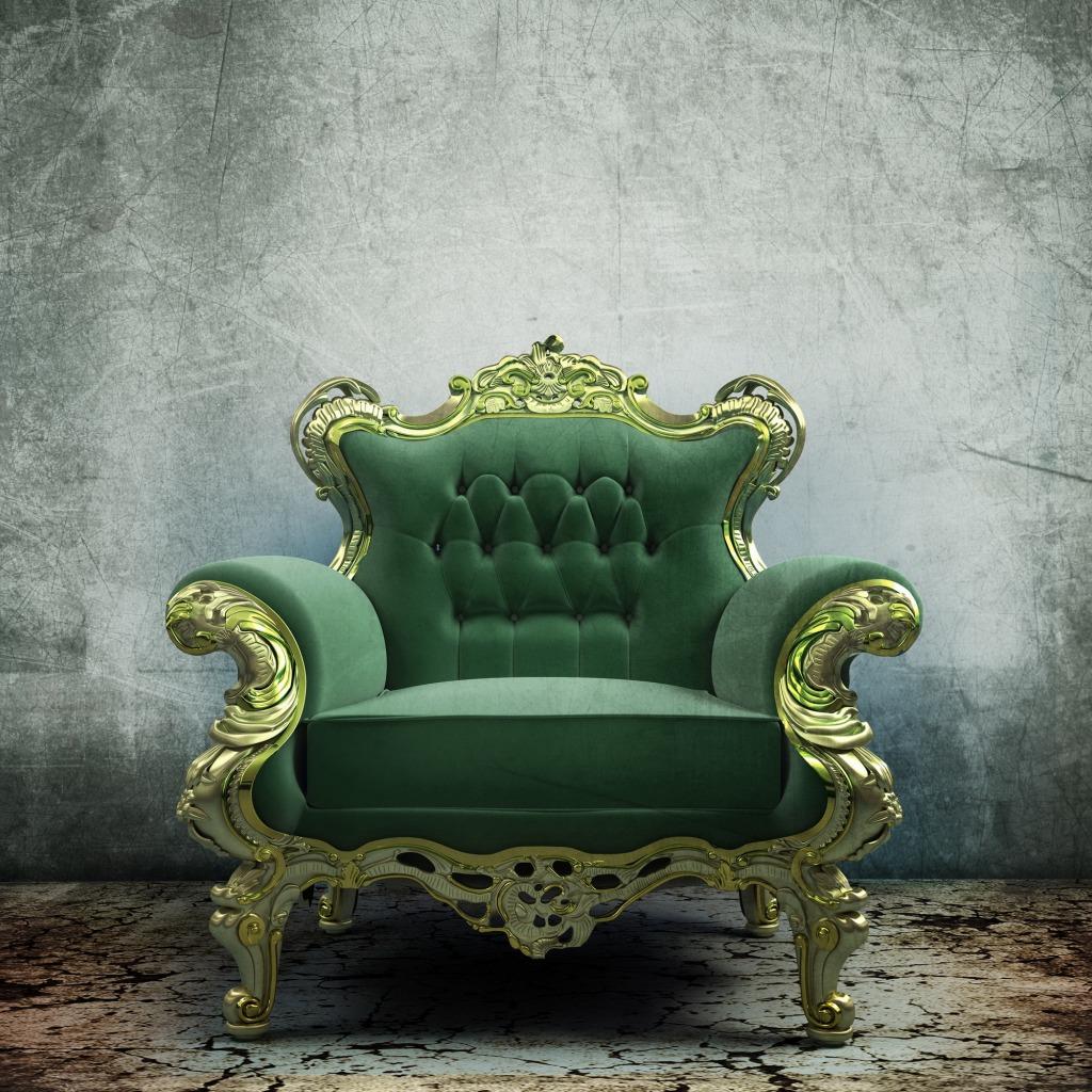 Зеленое кресло-трон