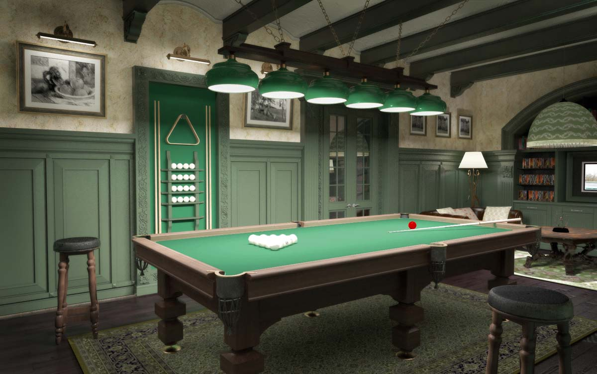 Бильярдная комната в зеленом цвете