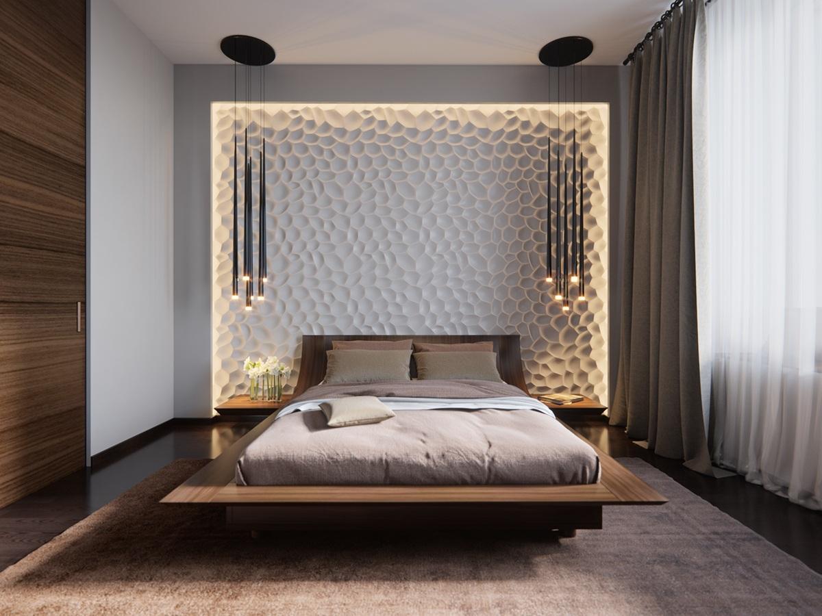 Подсветка 3D-панелей в спальне