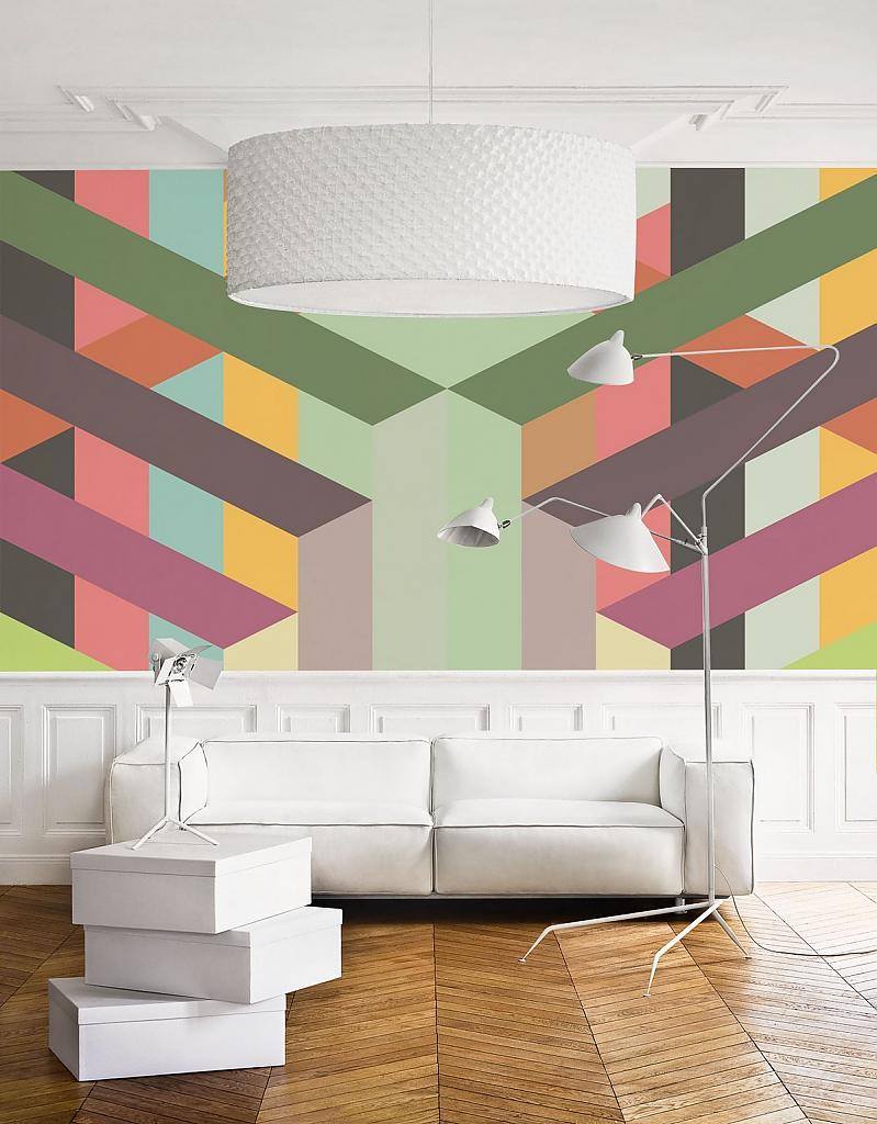 Абстрактный рисунок на стене в интерьере квартиры