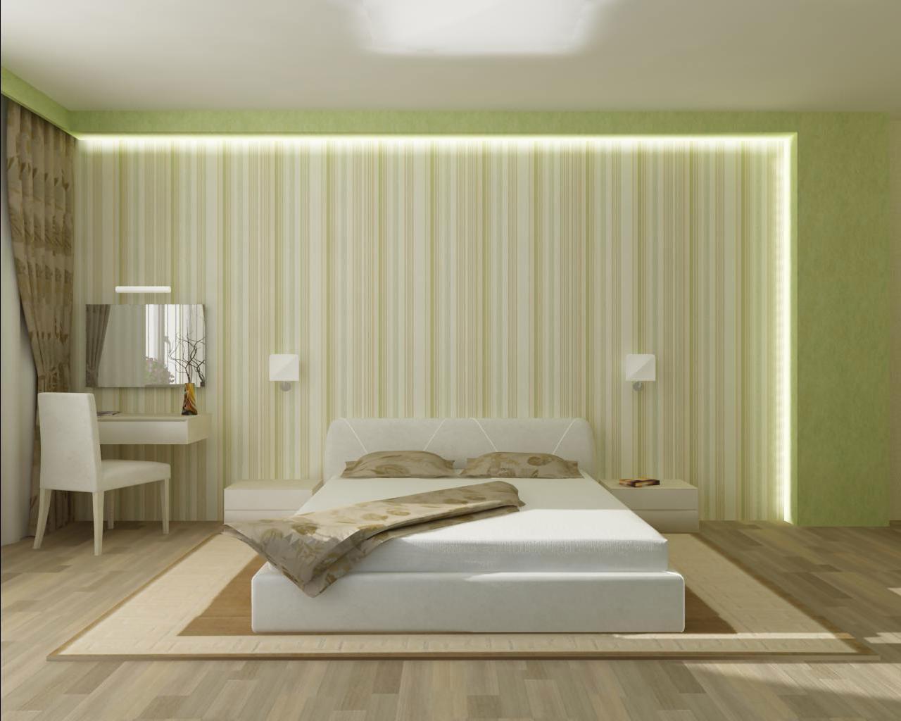 Подсветка акцентной стены в спальне