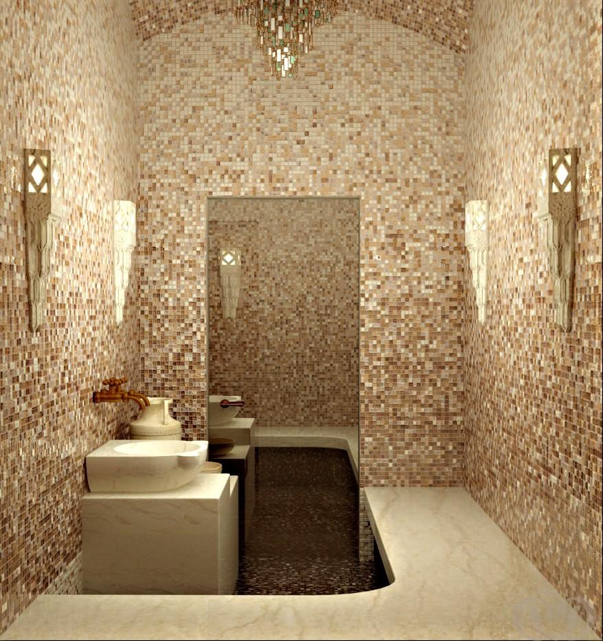 Хамам, облицованный бежевой мозаикой