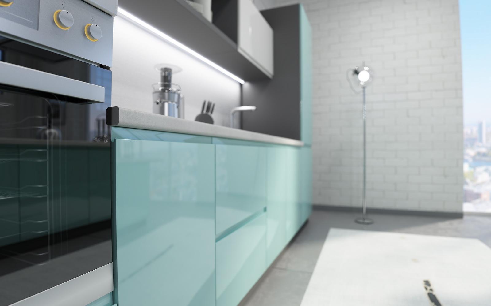 Кухня без ручек бирюзового цвета