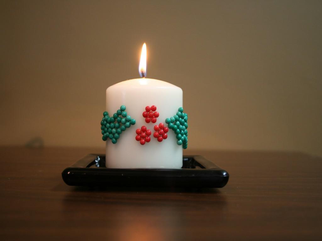Декор свечи бисером