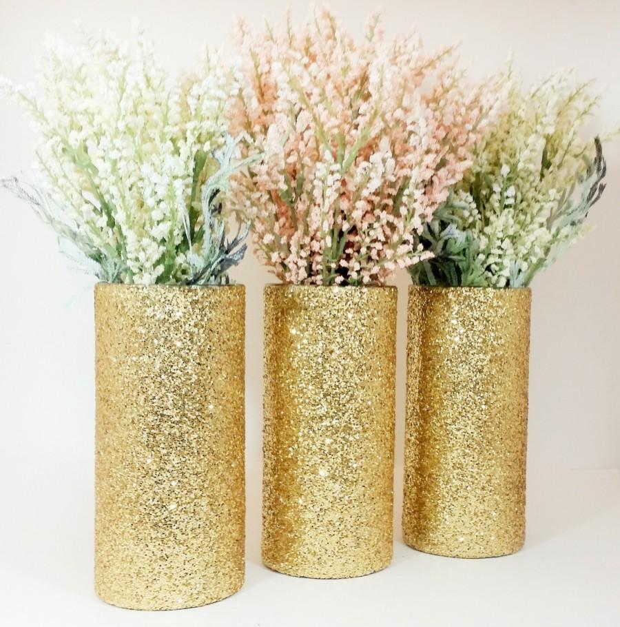 Декор вазы блестками
