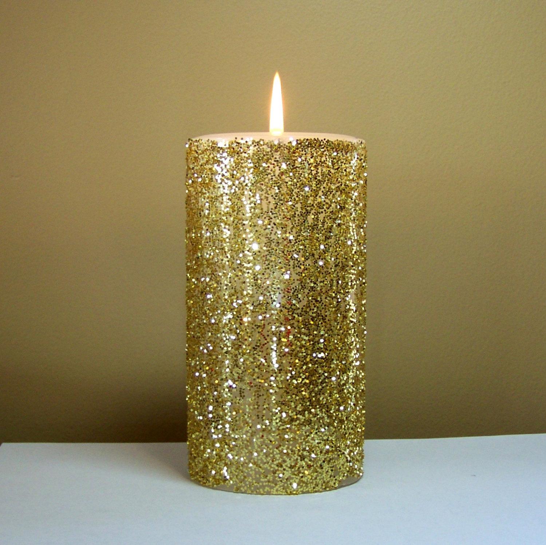 Декор свечи блестками