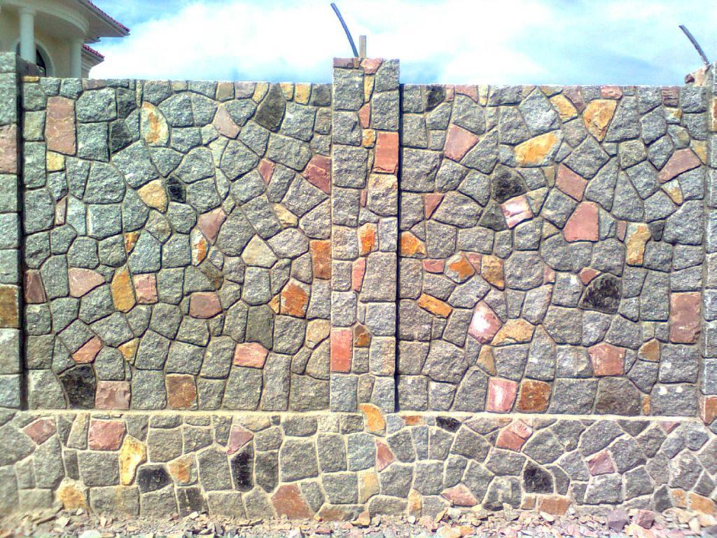 Забор с бутовым камнем