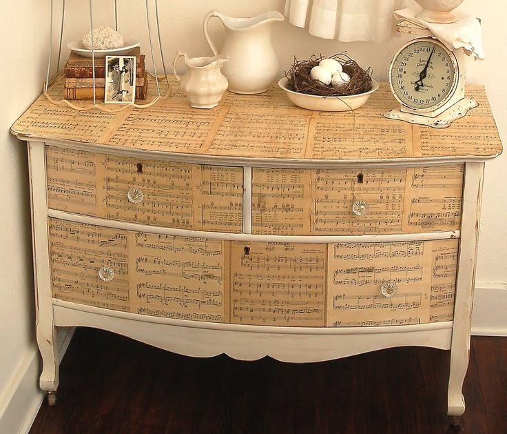 Декор мебели бумагой
