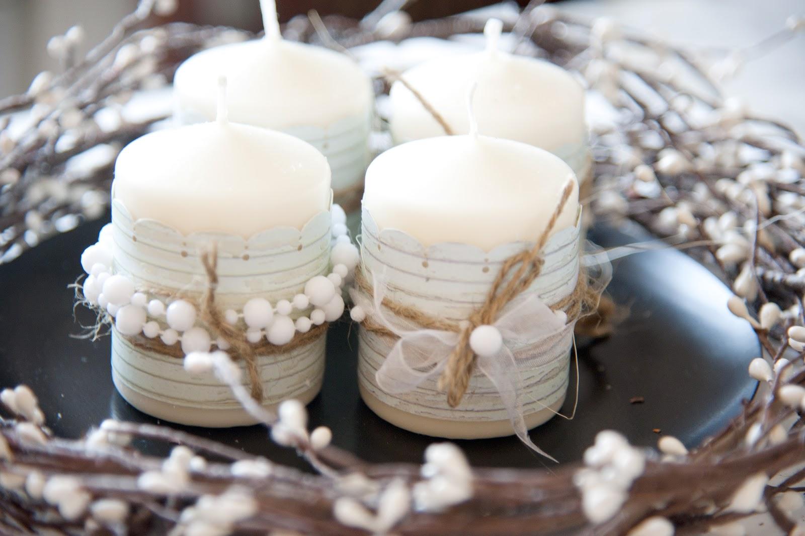 Декор свечи бусинами