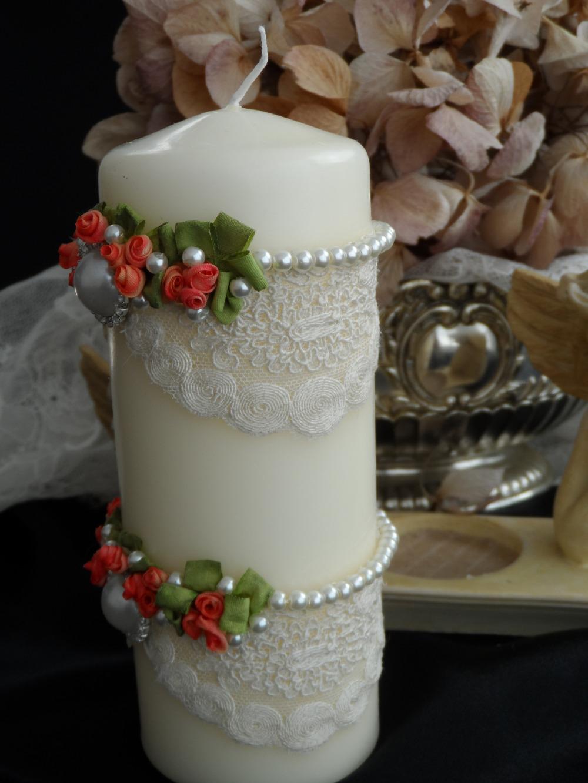 Декор свечи бусами