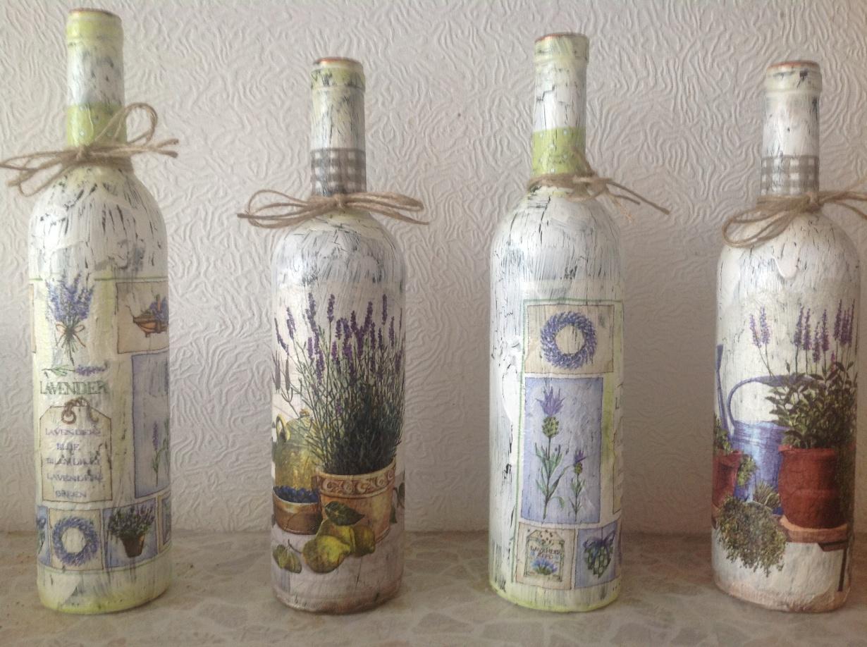 Декор бутылок в стиле прованс